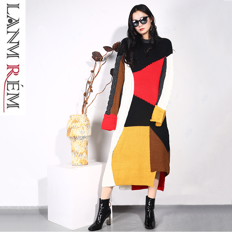 Lanmrem 2018 Fashion Women Autumn Winter Clothes Patchwork Long Sleeve High Collar Pullover Knitting Sweater Female Dress Ta495 Dresses
