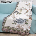 Flowers and Birds Cotton Blanket Knitted Multi-function Thread Blanket Beds Couch Floor Mat Tablecloth Decorative Sofa Blankets