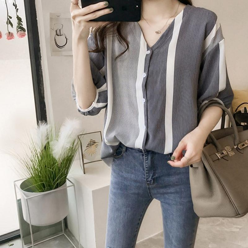 MISSKY Women Shirt V Neck Half Sleeve Summer Striped Patchwork Blouse Loose Bat Sleeves Shirt Female Tops