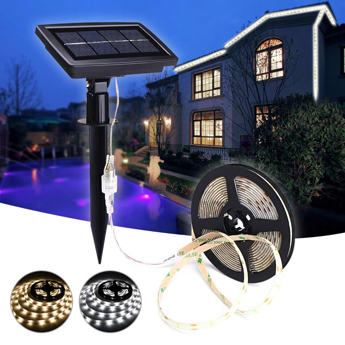 5m Waterproof Solar LED Strip Light 2835smd IP65 Pure White/warm White Single Color LED StripOutdoor Garden Decor