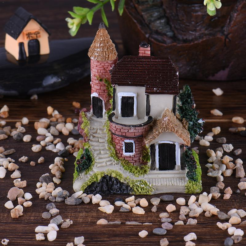 Bright 1pcs Castle Luxury House Diy Resin Fairy Garden Craft Decoration Miniature Micro Gnome Terrarium Figurines & Miniatures