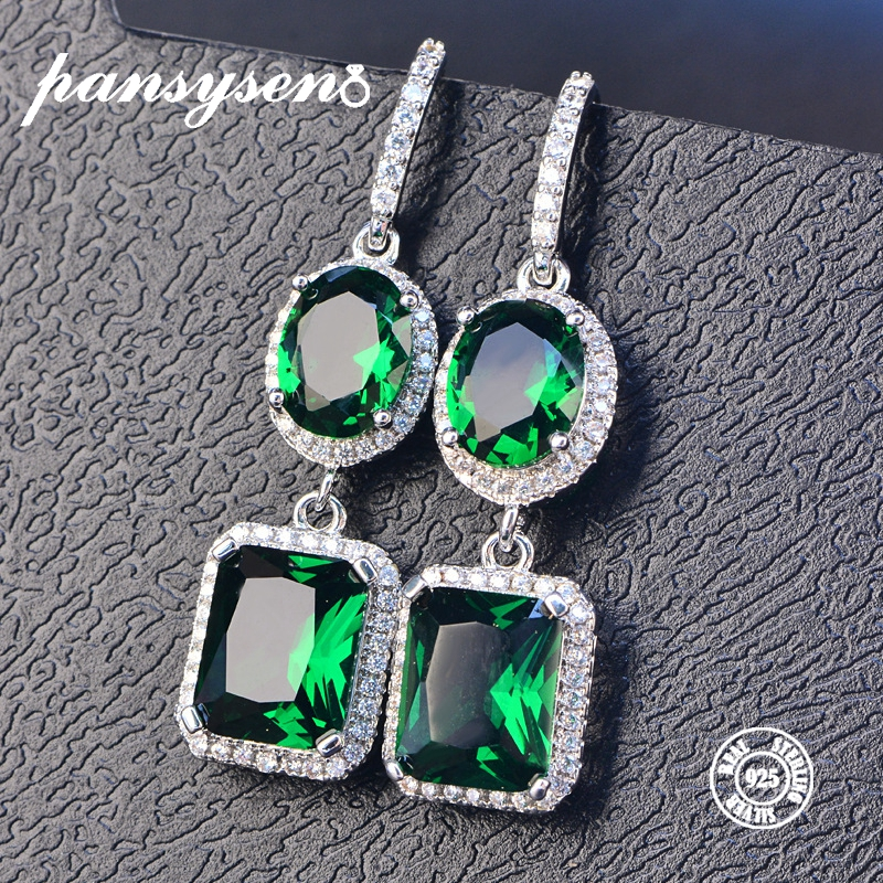 PANSYSEN 2019 Luxury Natural Emerald Women s Drop Earrings Genunie 925 silver Jewelry Earrings For Women PANSYSEN 2019 Luxury Natural Emerald Women's Drop Earrings Genunie 925 silver Jewelry Earrings For Women Party Engagement Gifts