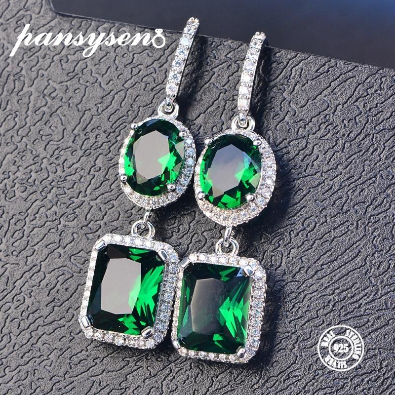 PANSYSEN 2019 Luxury Natural Emerald Women s Drop Earrings Genunie 925 silver Jewelry Earrings For Women Innrech Market.com