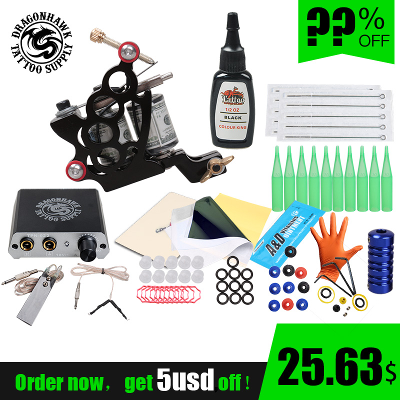 Complete Beginner Tattoo Kit Tattoo Machine Gun Immortal Inks Set Mini Power Needles Tattoo Supplies