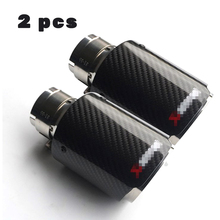 2Car Universal Exhaust Tip Muffler 54MM IN-76MM OUT 100% Carbon Fiber Glossy Stainless steel