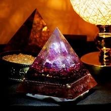 Лучший!  AURA REIKI Orgonite Natural Amethyst Гранатный Камень Улучшение Бизнеса Пирамида МинералКристалличес