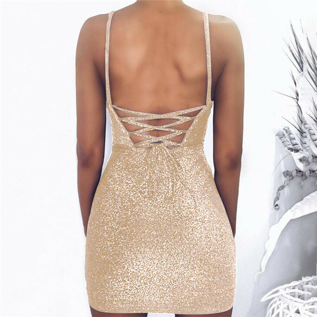 Backless gold sparkly dress short