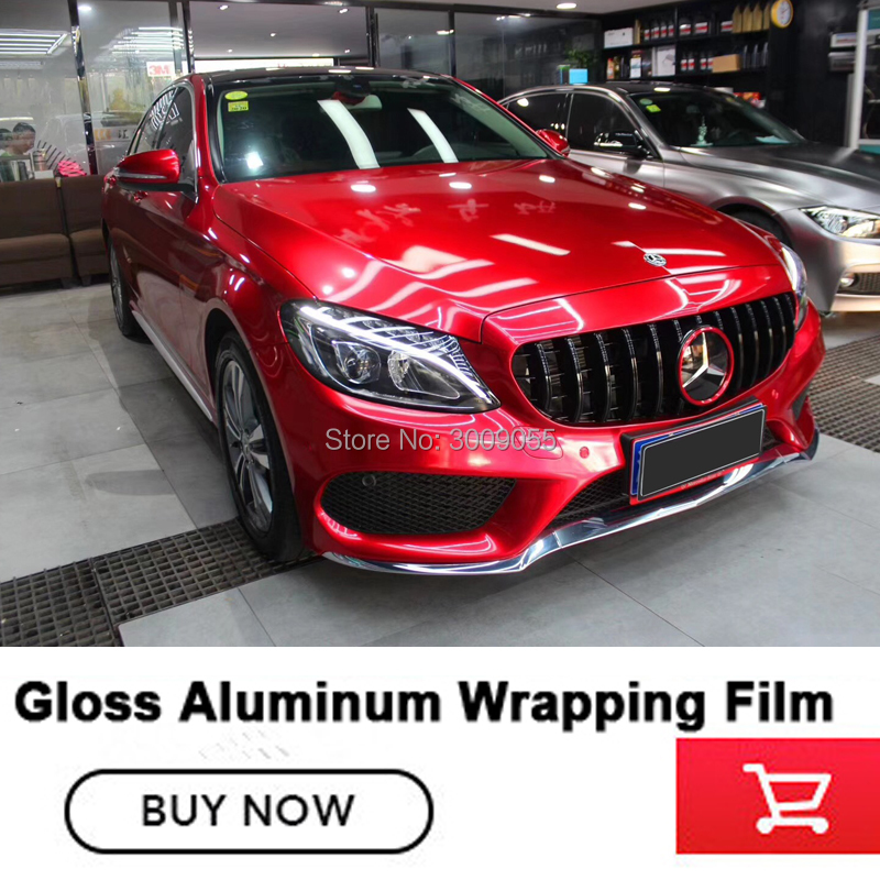 Newest red Glossy Metallic Vinyl wrap Car Wrap Styling With Air Bubble Gloss Aluminum red Vinyl