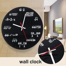 8de2826a739 Matte Black Metal Matemática Álgebra Negro Pi 30 cm Matemática Relógio  Relógio De Parede Do Vintage
