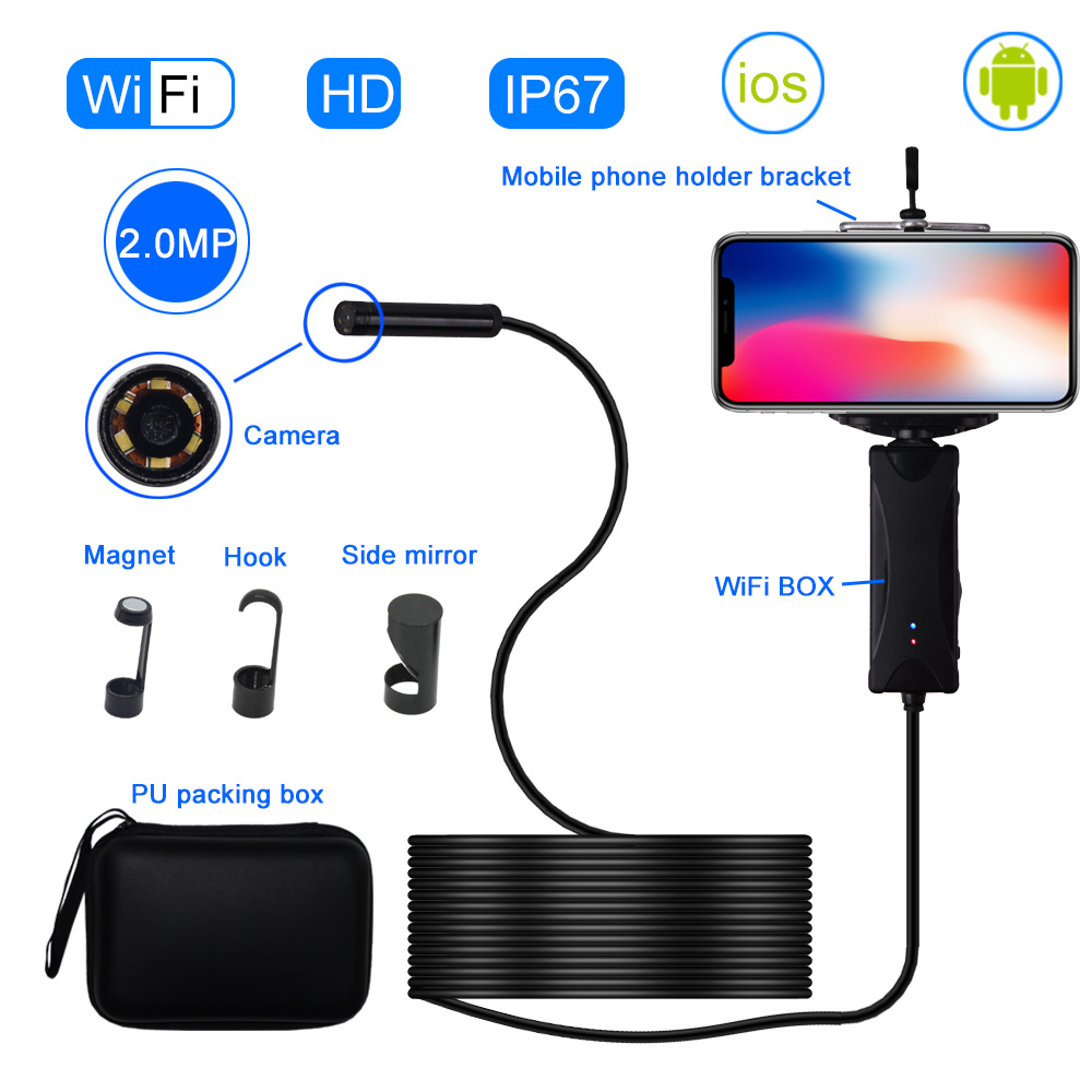 8mm HD Waterproof Industrial Handheld WIFI Endoscope 200W Pixel For Android For Iphone Universal