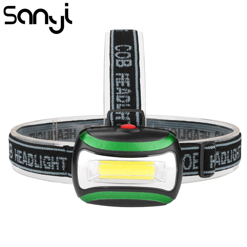 SANYI 3800 LM Flashlight Head 3 Modes Headlamp Recharging By 3* AAA Battery Forehead Headlight LED COB Torch