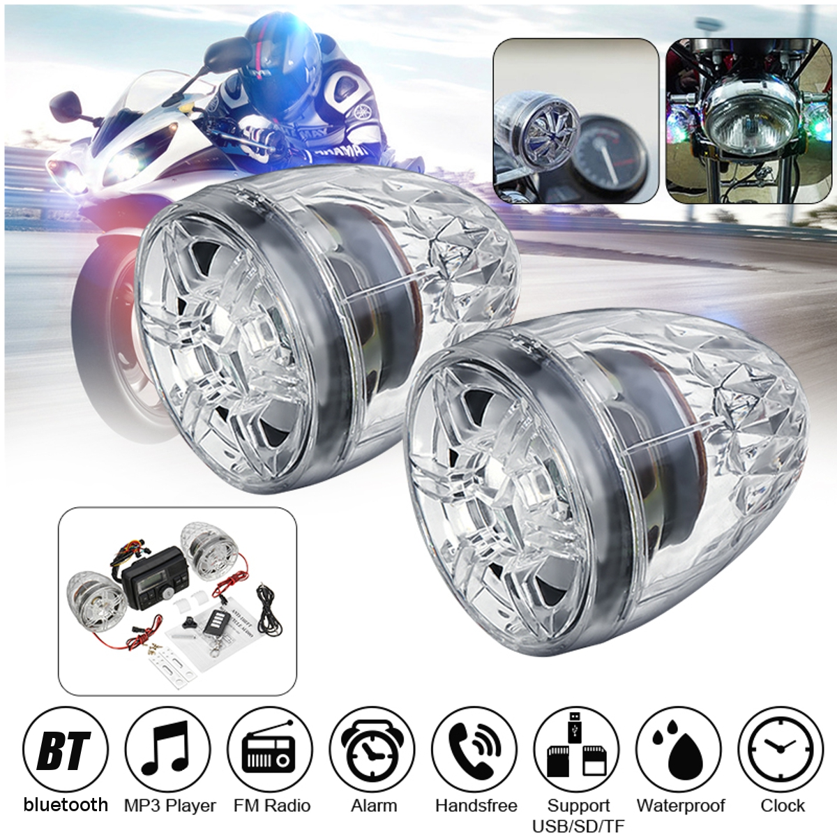 Handlebar Motor Car Audio Radio Stereo 2X Speakers Music Amplifier Anti-theft ATV Motorcycle Alarm Sound System MP3 Player