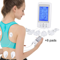 Electric pulse massager Neck Back Stimulator Full Body Relax Muscle Massager relief pain EMS tens Acupuncture therapy +8 pads