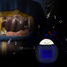Portable Music Player Projector Light Star Sky Effect LED USB Clock Lamp Home Decor Lamp Clock lamparas lamp for kids(China)