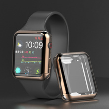 For Apple Watch Series 3 2 1 42MM Case Soft TPU Plating Clear Full Screen Protector Cover iWatch Silicone