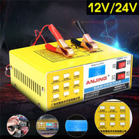 Car Battery Charger 12V/24V 200 AH Full Automatic Intelligent Repair Auto Electric Battery Charger LED for Motorcycle