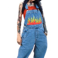 Harajuku Rock Women's Flame Printing Denim Jumpsuit Woman 2018 Streetwear Rock Trouser
