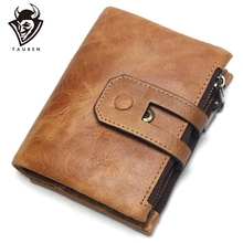 2019 New Genuine Crazy Horse Leather Mens Wallet Man Cowhide Cover Coin Purse Small Brand Male Credit&Id Multifunctional Walets a2015 brand new crazy horse genuine leather