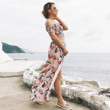 2019 Summer New Floral Print Two Piece Set Women Crop Top and Split Long Skirt Sexy Suits Casual Beach Party Outfits