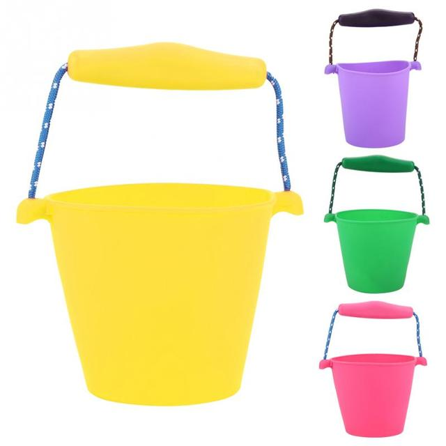 4 Colors Baby Kids Shower Bath Toy Beach Bucket Silicone Folding Hand-held Barrel Toy Water Spraying Tool Baby Children's Toy