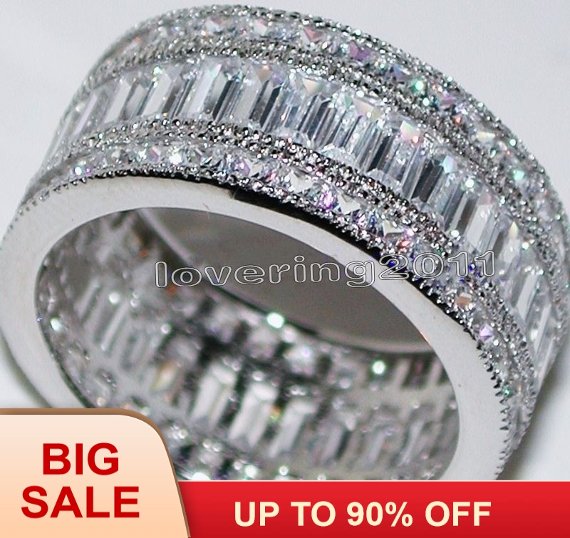 Fashion Jewelry Engagement Jewelry Princess Cut 20ct Gem 5A Zircon Stone 14KT White Gold Filled Wedding Band Ring Sz 5-11