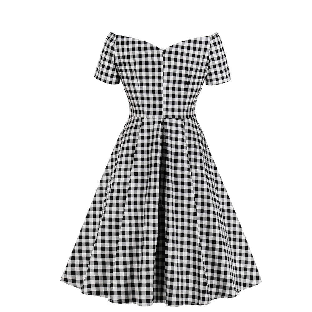 Joineles сексуальное винтажное платье с глубоким v-образным вырезом в клетку женское хлопковое клетчатое платье с коротким рукавом ТРАПЕЦИЕВИДНОЕ вечернее платье летнее платье