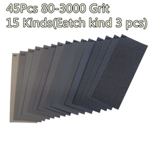 цена на 45Pcs/set Wet Dry Sandpaper 80 -3000 Grit Assortment 9x3.6'' Abrasive Paper Sheet Sanding