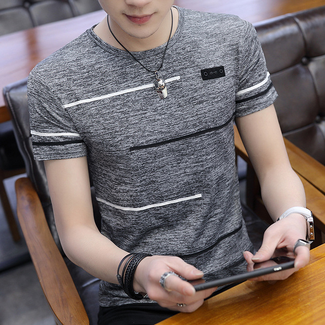 Korean Short Sleeve T Shirt Men O Neck Polyester Mens T Shirt Summer Cool Tee Male Slim Casual Boys Tee Shirts Homme 4XL