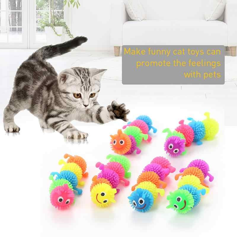 Pet Gato Engraçado Que Joga o Brinquedo de Simulação de Borracha Lagarta Forma do animal de Estimação Brinquedo Tricky Descompressão Ventilação Ferramentas Pet Suprimentos de Diversões