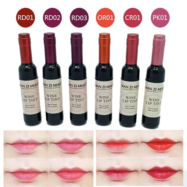 Botella de vino rojo mate tinte de labios brillo de labios resistente al agua brillo de labios de larga duración hidratante tinte de labios cosmético líquido lápiz labial 6 colores