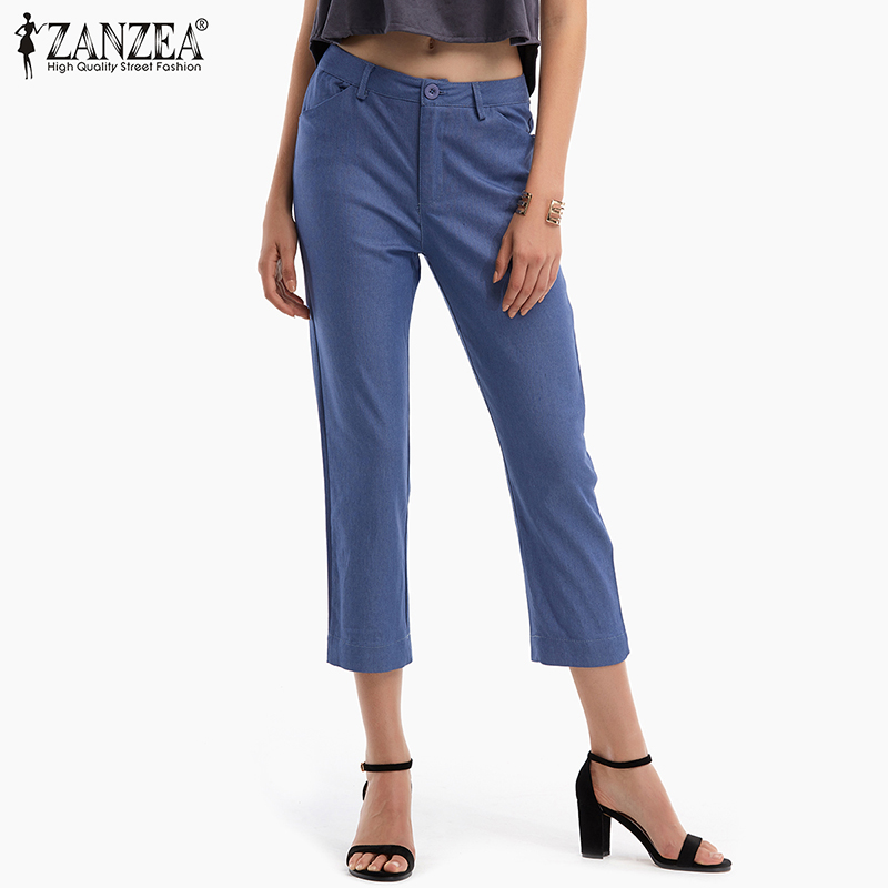Plus Size Women   Capris   Trousers ZANZEA 2019 Spring Summer Casual Straight   Pants   Female Casual Solid Slim Zipper Elastic Trousers