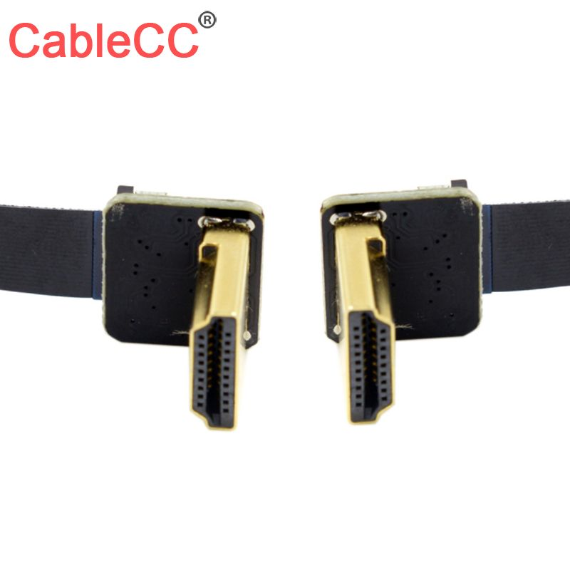 Cablecc CYFPV Dual 90D Down Angled <font><b>HDMI</b></font> Type A Male to Male HDTV Cable <font><b>50cm</b></font> for FPV HDTV image