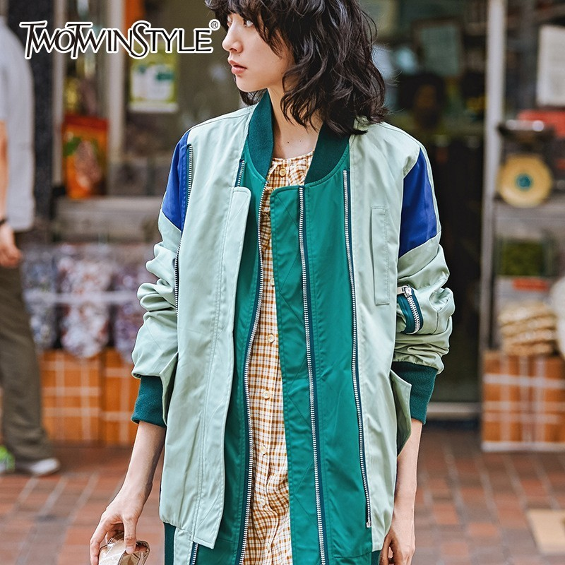 TWOTWINSTYLE Spring   Basic     Jackets   For Women Long Sleeve Hit Colors Patchwork   Jacket   Coats Female 2019 Clothes Fashion Tide