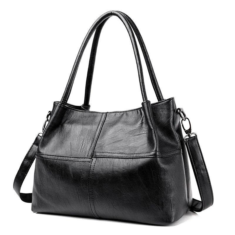 2019 New Ladies Hand Bag Women's Genuine Leather Handbag Black Tote Bag Bolsas Femininas Female Shoulder Bag Leather Women-in Top-Handle Bags from Luggage & Bags