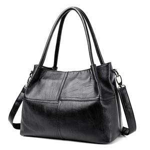 Image 1 - 2019 New Ladies Hand Bag Womens Genuine Leather Handbag Black Tote Bag Bolsas Femininas Female Shoulder Bag Leather Women