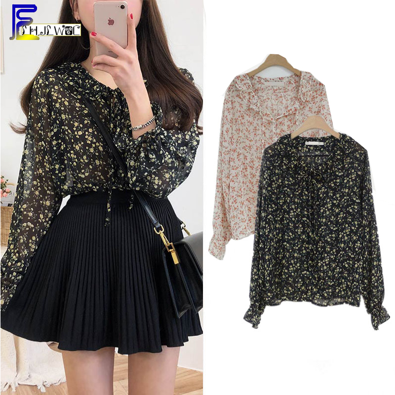 Vintage Korean Style Clothes Design Women Fashion Cute Flare Sleeve Chiffon   Blouses     Shirts   Floral Printed Cute Bow Tie Tops