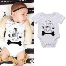 Hot Sale Tops Newborn Baby Boys Girls Cute Dog Paw Print Bone Baby