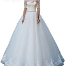 BacklakeGirls Boat Neck Lace Ball Gown Wedding Dresses