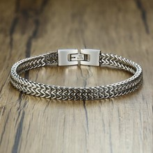 Stylish Stainless Steel Silverly Bali Foxtail Chain Bracelet for Men Double Link Chain Bracelets Male Jewelry 8.26 inch