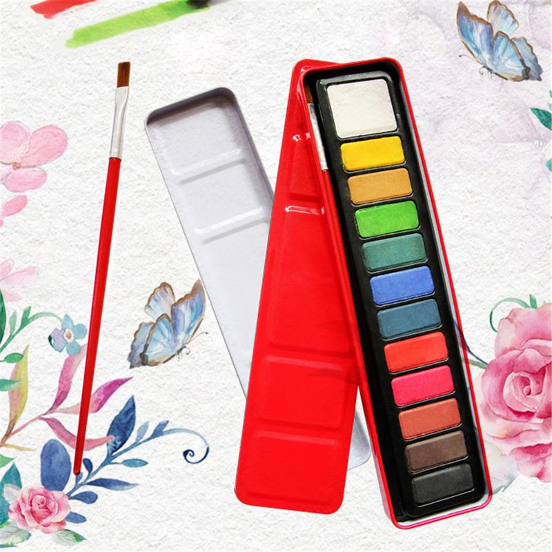 12-Color Solid Painting Sketch Powder Watercolor Set Childrens Drawing Paint Art Supplies For Students Children12-Color Solid Painting Sketch Powder Watercolor Set Childrens Drawing Paint Art Supplies For Students Children