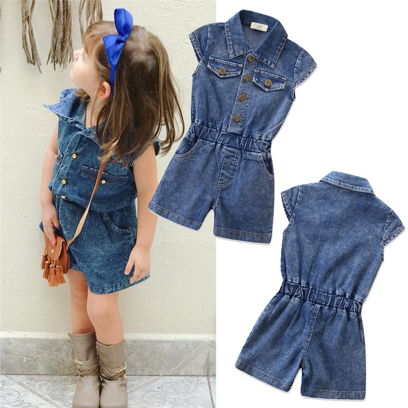 Children's Denim Overalls Jumpsuit Summer Toddler Kids Baby Girls Sleeveless Overalls Casual Loose Jumpsuit Outfits 3-7Y