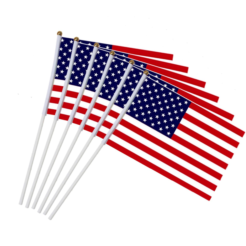 6 pçs eua vara bandeira, americano eua 5x8 polegada handheld mini bandeira do alferes 30cm pólo estados unidos mão segurando bandeira da vara