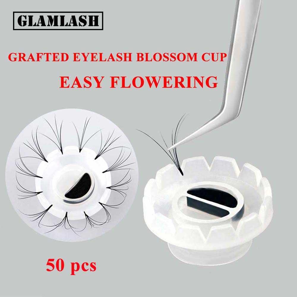 GLAMLASH 50 Uds pegamento para extensión de pestañas taza de injerto de pestañas herramienta dedicada pegamento de pestañas adhesivo titular Sun Flower cup