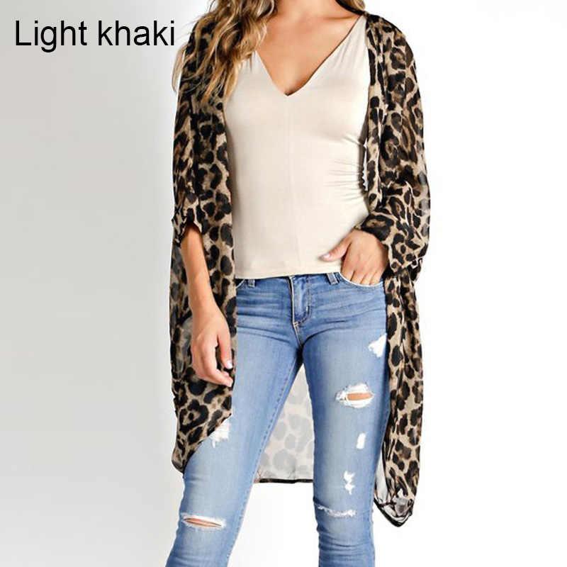 808f74dcaab ... Celmia Plus Size 5XL Women Long Vintage Kimono Cardigan Leopard Printed Blouse  2019 Casual Loose Beach ...