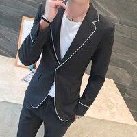 2019 весенние белые края Для досуга по доступной цене, Саморазвитие, мужской костюм, блейзер черного цвета повседневная одежда Топы + Штаны ко