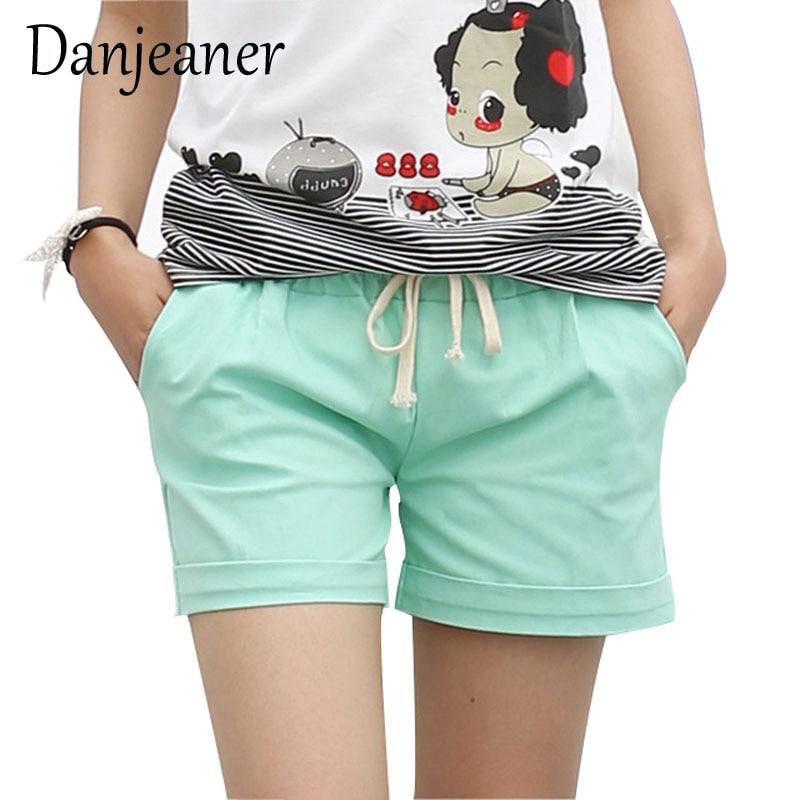 Danjeaner Elastic Waist Women Shorts Fashion Lady Sexy Summer Casual Shorts High Waist Short Cotton Shorts Femme Ete 2018