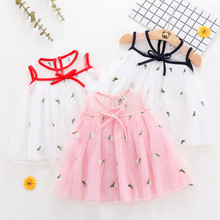 Children's Wear Summer New Girl Baby Sleeveless Mesh Dress Children's Pure-colour Small Fresh Embroidered шапка wear colour wear colour we019cuzrk89