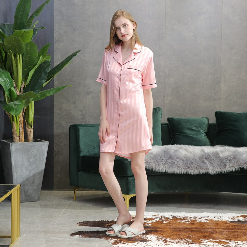 Pink Sleep Lounge   Nightgowns     Sleepshirt   Sleepwear BF Style Night Dress Nightwear Women Sexy Lingerie