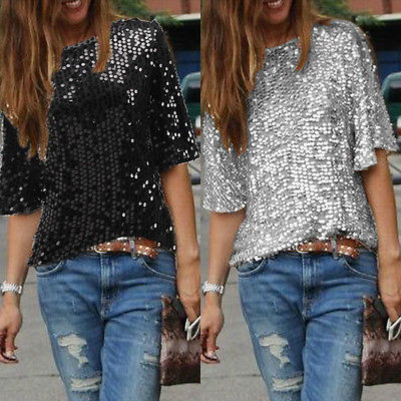 2019 New Arrival Fashion Ladies Elegant Silk Blouses Skew Collar Hot Half Sleeve Casual Sequin Shirts Casual Slim Brand Tops