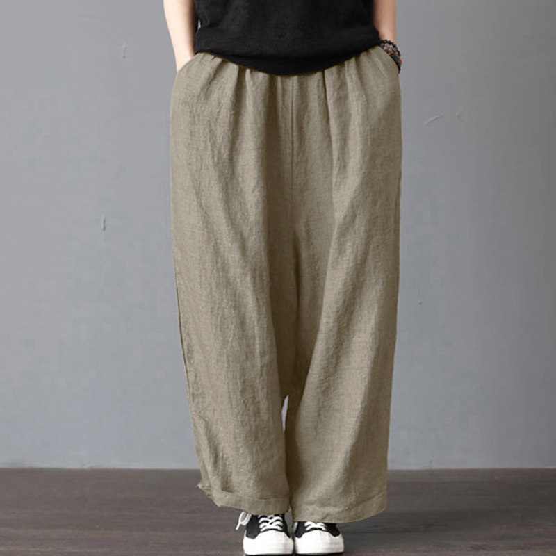2019 Women Cotton Linen   Pants   Baggy Harem Women's   Wide     Leg     Pants   With Pockets Lady Baggy Pantalon femme Plus Size Summer   Pant